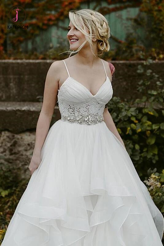 Charming Lace Ruffles Tulle Puffy Spaghetti Strap Wedding Dresses, Beach Wedding Dress KPW0367