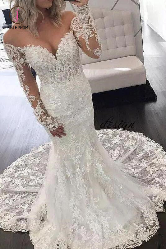 Illusion Long Sleeve Lace Mermaid Wedding Dresses, Gorgeous Long Bridal Dresses KPW0370