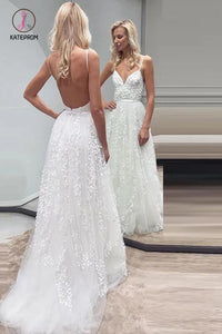 Boho Beach Wedding Dress with Lace Appliques, Spaghetti Strap Tulle Wedding Gown KPW0371
