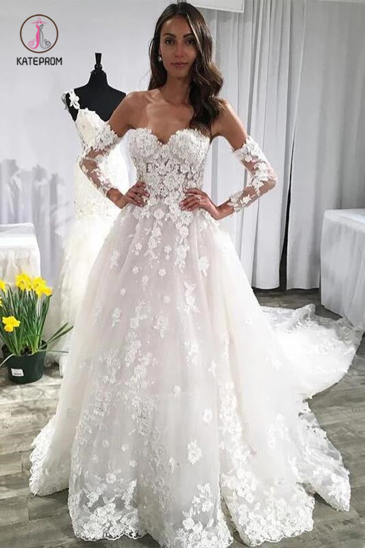 Unique Sweetheart Wedding Dresses, Puffy Lace Appliqued Backless Beach Wedding Dress KPW0373