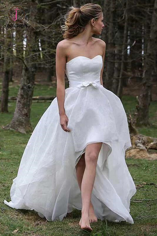 High Low Sweetheart Beach Wedding Dresses, Boho Wedding Dress with Bow KPW0374