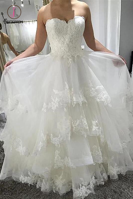 Simple Strapless Beach Wedding Dress with Lace, Tiered Lace Up Back Wedding Dresses KPW0376