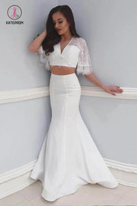 Two Piece Beach Wedding Dress with Lace, 2 Piece Mermaid V Neck Prom Dresses KPW0377