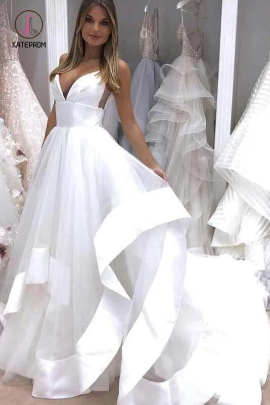 White Sapghetti Straps Beach Wedding Dress, Sexy Simple Boho Wedding Gowns KPW0382