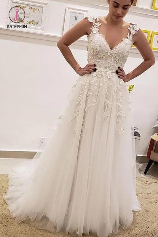 Simple Tulle Lace Illusion Back A-Line Wedding Dresses, A Line V Neck Bridal Dress KPW0384