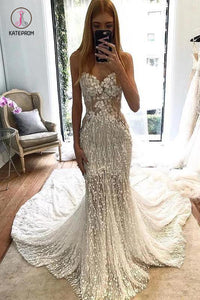 Stunning Lace Applique Sweetheart Strapless Mermaid Wedding Dress, Bridal Dress KPW0385