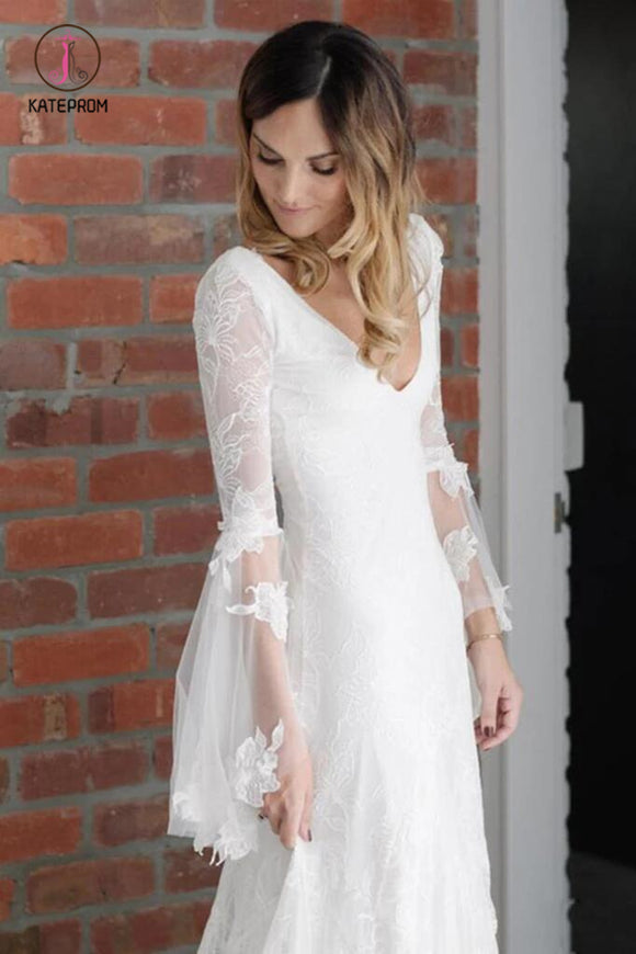 Boho V Neck Beach Wedding Dress with Long Sleeves, Unique Lace Wedding Dresses KPW0394