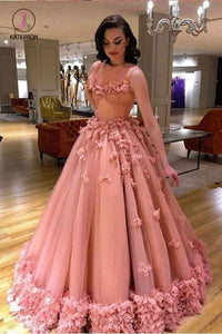 Luxury Tulle Sleeveless Ball Gown Prom Dress with Flowers, Princess Wedding Dresses KPW0395