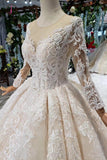 Princess Long Sleeves Sheer Neck Ball Gown Lace Wedding Dresses, Long Bridal Dress KPW0398