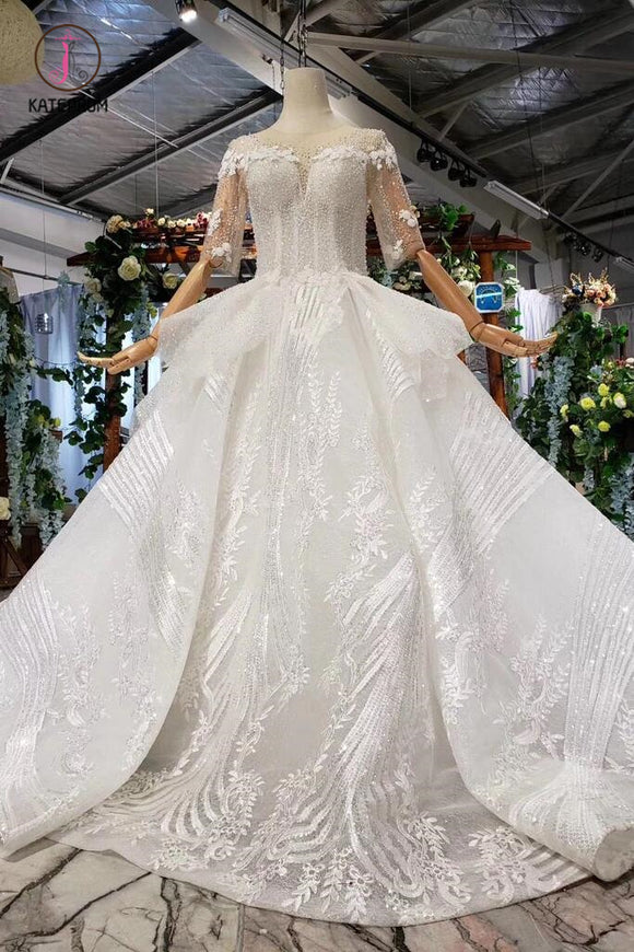 Ball Gown Half Sleeves Lace Bridal Dress with Sequins, Sheer Neck Long Wedding Dress KPW0401