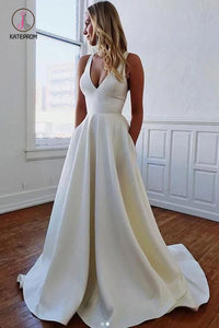 Charming Straps Bow Sleeveless A-Line Bridal Dresses, Simple Bow Back Wedding Dresses KPW0403