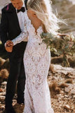 See Through Back Lace Rustic Wedding Dresses Long Sleeve Mermaid Bridal Dress KPW0406