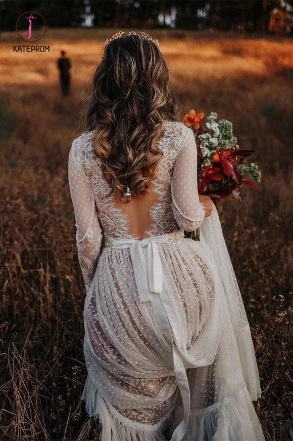 Unique Long Sleeve Boho Wedding Dresses Lace Bohemian Backless Wedding Gowns KPW0407