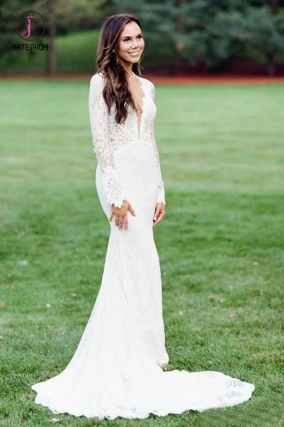 Elegant Mermaid Wedding Dresses Backless Long Sleeve Lace Wedding Gown KPW0421