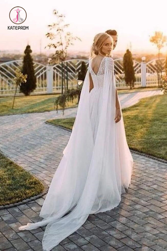 A Line Beaded Chiffon Cap Sleeves Boho Wedding Dresses, Beach Wedding Dress with Pearls KPW0422