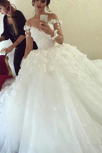 Ball Gown Sheer Neck Long Wedding Dress with Flowers, Long Sleeves Puffy Bridal Dress KPW0428