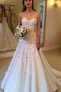 Elegant Sweetheart Wedding Dress with Lace Appliques, Strapless Bridal Dresses KPW0430