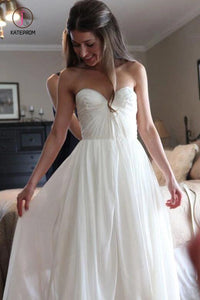 Floor Length Sweetheart Chiffon Boho Wedding Dress, Long Beach Wedding Gown KPW0432