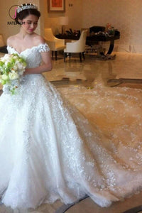 Gorgeous Off the Shoulder Puffy Lace Wedding Dress, Princess Lace Bridal Dress KPW0434