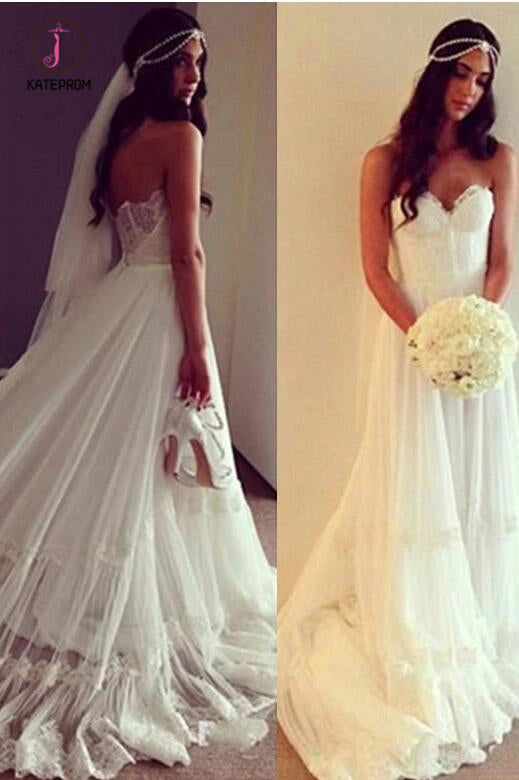 Boho Sweetheart Lace Appliques A Line Ivory Wedding Dress, Beach Wedding Dress KPW0435