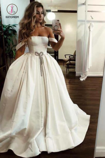 Puffy Off the Shoulder Satin Long Wedding Dresses with Pockets, Simple Bridal Dress KPW0436