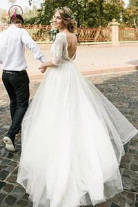 Puffy Half Sleeves Backless Wedding Dresses, Floor Length Long Beach Wedding Dress KPW0442