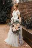 A Line Short Sleeve Lace and Tulle Silver Country Wedding Dresses with Sash KPW0444