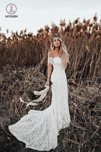 Mermaid Off the Shoulder Lace Beach Wedding Dress, Long Rustic Wedding Dresses KPW0445