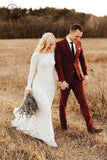 Ivory Long Sleeve Rustic Bridal Dresses Backless Sheath Beach Wedding Dress KPW0451