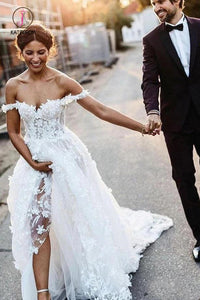 White Off the Shoulder Lace Beach Wedding Dresses Rustic Boho Wedding Dress KPW0454