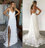 Straps Long Lace Wedding Dresses, Charming Lace Beach Wedding Dresses KPW0461