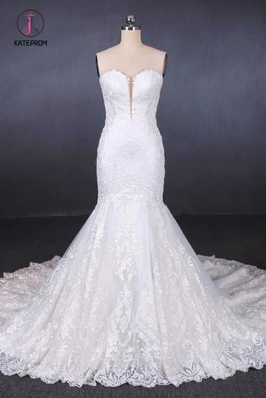 Mermaid Sweetheart Long Lace Bridal Dresses, Strapless Mermaid Lace Wedding Dress KPW0465