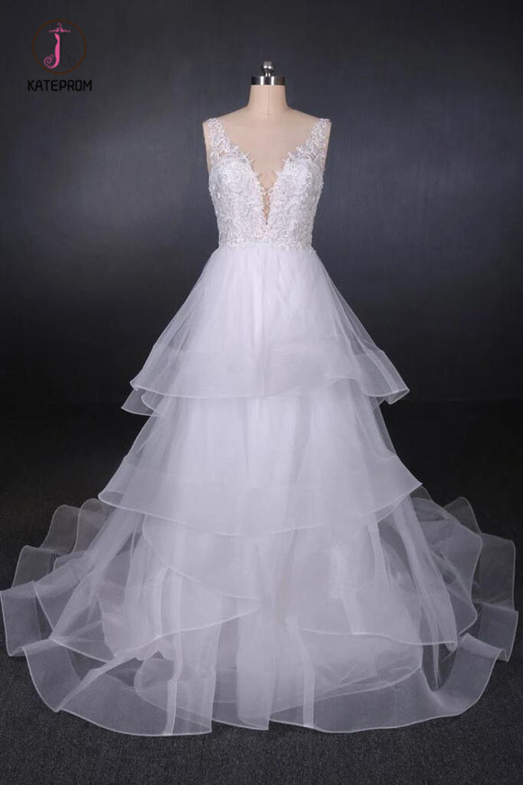 Unique V Neck Sleeveless Tulle Wedding Dresses, Asymmetrical Long Bridal Dresses KPW0470