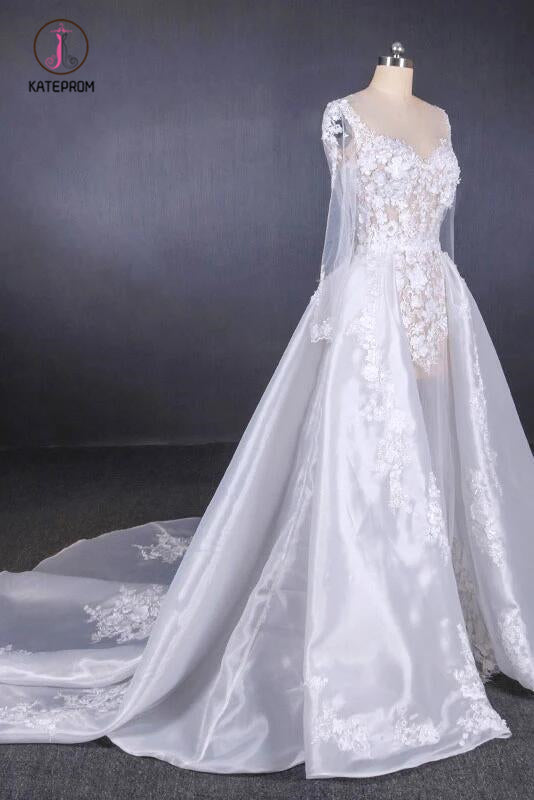 Gorgeous Long Sleeves Sweetheart Wedding Dress, Whit Bridal Dresses with Applique KPW0471