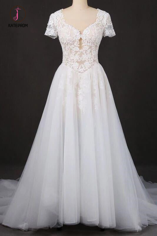 Puffy Short Sleeves Tulle Bridal Dress with Lace Appliques, Long Train Wedding Dress KPW0473