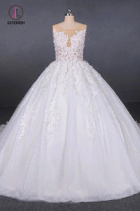 Ball Gown Sheer Neck Sleeveless White Wedding Dresses, Lace Appliqued Bridal Dress KPW0476