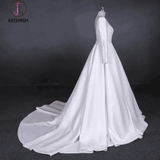 Cheap Long Sleeves Satin White Wedding Dress, Simple Backless Bridal Dresses KPW0479