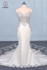 Sexy Spaghetti Straps Mermaid Wedding Dress with Lace, Mermaid Bridal Dresses KPW0480
