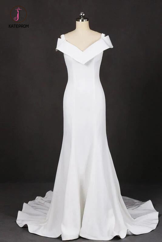 Mermaid V Neck Off White Simple Wedding Dress, Unique Long Bridal Dresses KPW0483