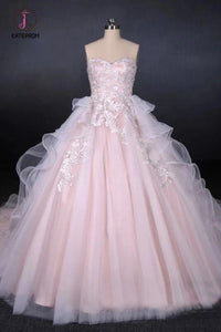 Ball Gown Sweetheart Tulle Wedding Dress with Lace Appliques, Puffy Bridal Dresses KPW0484