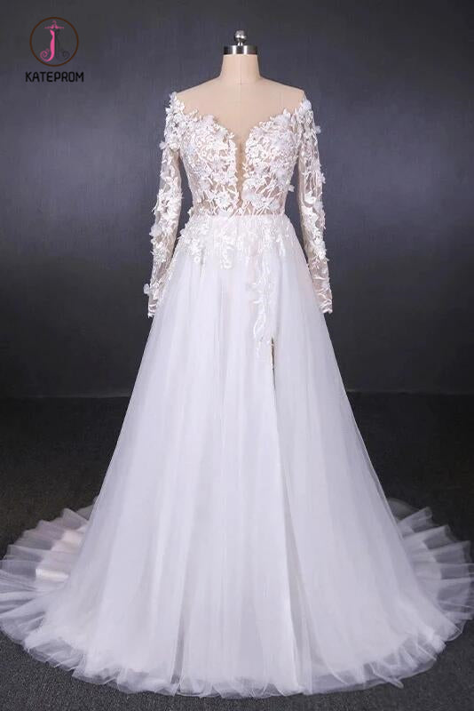 White A Line Tulle Long Sleeves Wedding Gown, Cheap Bridal Dress with Lace Appliques KPW0486