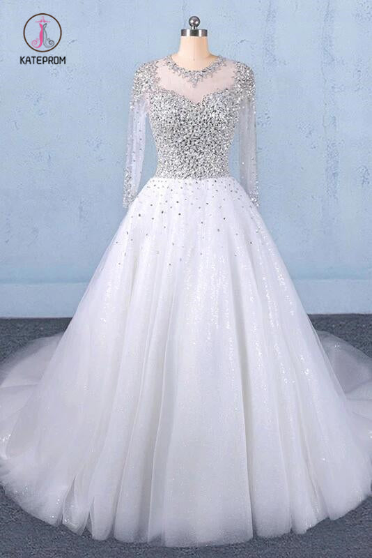 Puffy Long Sleeves Tulle White Wedding Dress, Shiny Long Bridal Dresses KPW0487