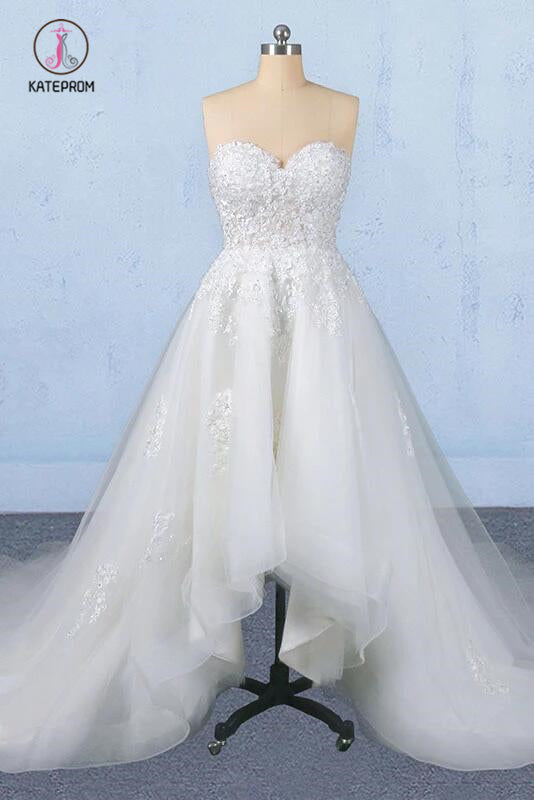 Off White Sweetheart High Low Tulle Appliques Wedding Dresses with Train KPW0488