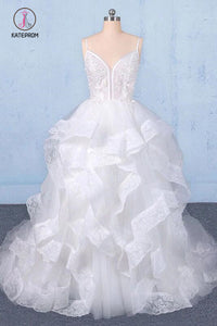Spaghetti Straps Floor Length Tulle Wedding Dress with Ruffles, Long Bridal Dress KPW0489