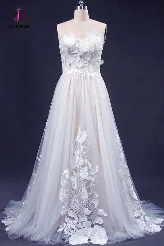A Line Sweetheart Tulle Appliqued Wedding Dress, Strapless Tulle Bridal Dresses KPW0491