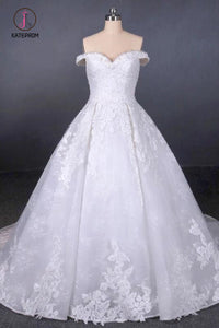 Ball Gown Off Shoulder Appliques Wedding Dresses, Puffy Lace Appliqued Bridal Dress KPW0494