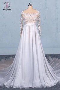White Long Sleeves Chiffon Wedding Dress with Appliques, Gorgeous Long Bridal Dress KPW0496