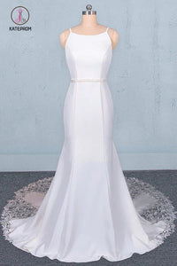 Simple Mermaid Sleeveless Wedding Dress with Lace, Sexy Backless Bridal Dress KPW0497
