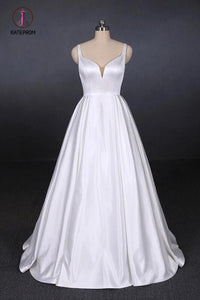 Simple Straps White Satin Wedding Dresses, Floor Length Satin Backless Bridal Dresses KPW0498