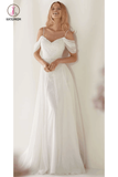 Unique Spaghetti Straps Sweep Train Wedding Dress, Long Beach Wedding Dresses KPW0505